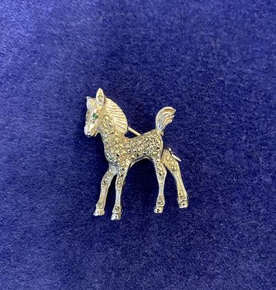 Silver Marcasite Pony Brooch