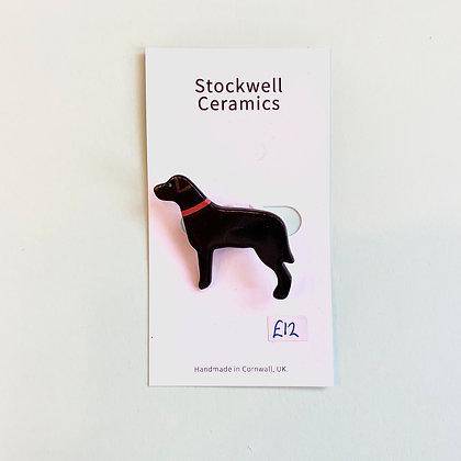 Ceramic Black Dog Brooch