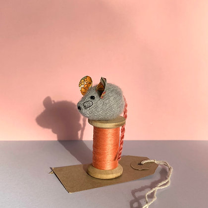 Hand Knitted Cashmere and Liberty Mouse on Bobbin