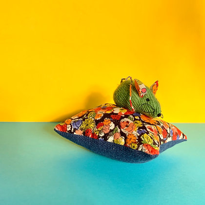 Hand Knitted Cashmere and Liberty Mouse Cushion