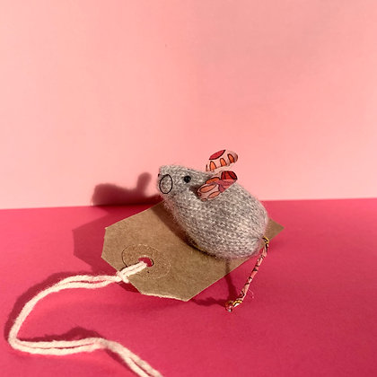 Hand Knitted Cashmere and LibertyMouse Brooch
