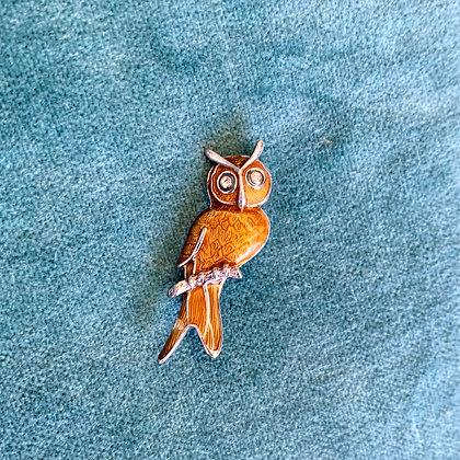 Silver and Enamel Owl Brooch