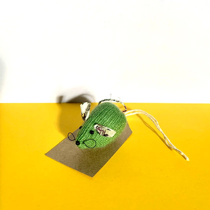 Hand Knitted Cashmere and Liberty Mouse Brooch