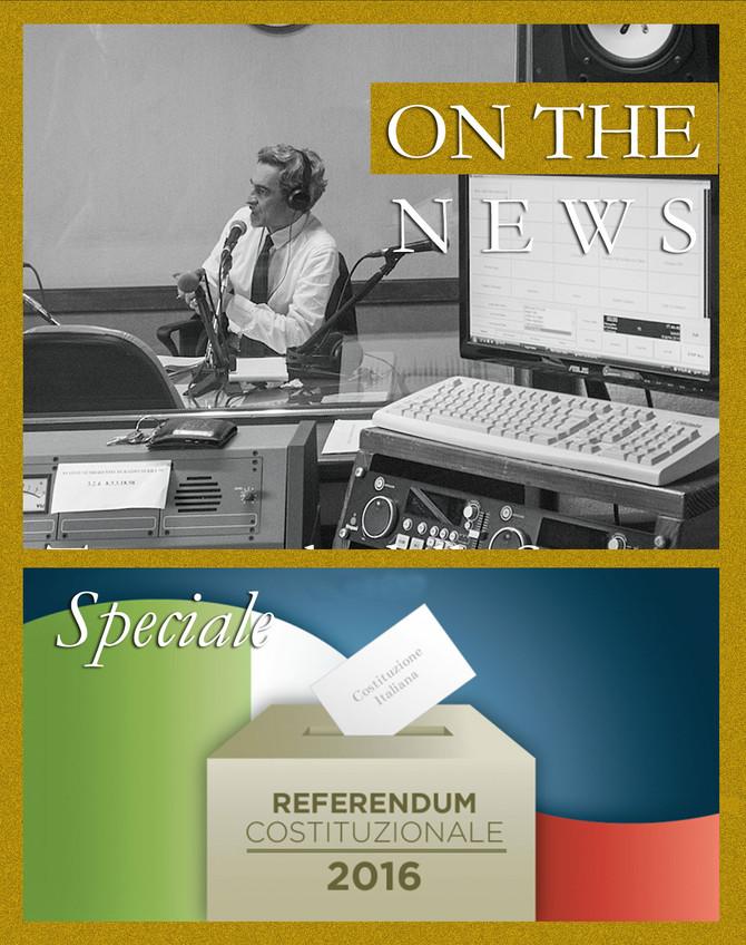 """On the news di sabato 26 novembre è speciale """"referendum, si o no?""""."""