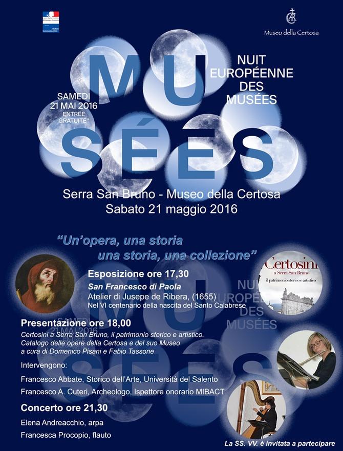 """-Museo della Certosa 21 maggio, 12a edizione """"Notte Europea dei Musei"""""""