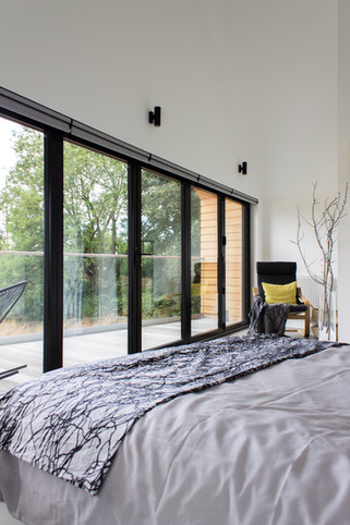 Barn House Master Bedroom as featured on Grand Designs