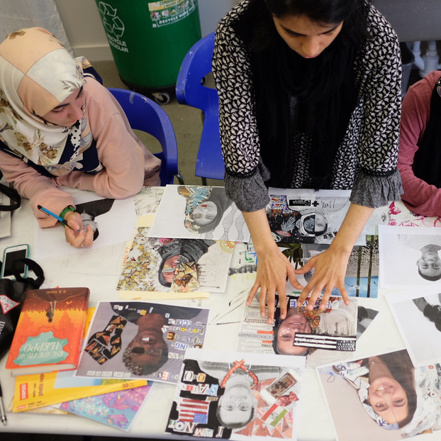 Art workshop with youth at the Shout Mouse Press