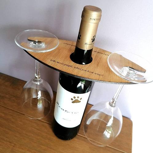 Wine glass holder - Personalised Wine Butler, Stocking filler, Secret San