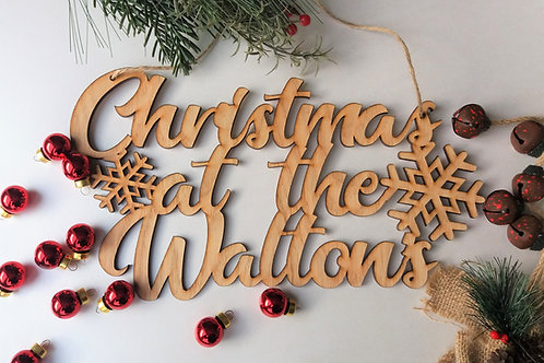 Christmas at the Surname - Personalised Large Oak wall hanging plaque