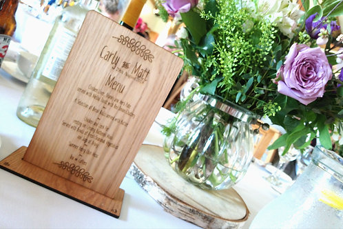Wooden Wedding Table Menus with stand- Laser engraved Oak veneered- Double sided