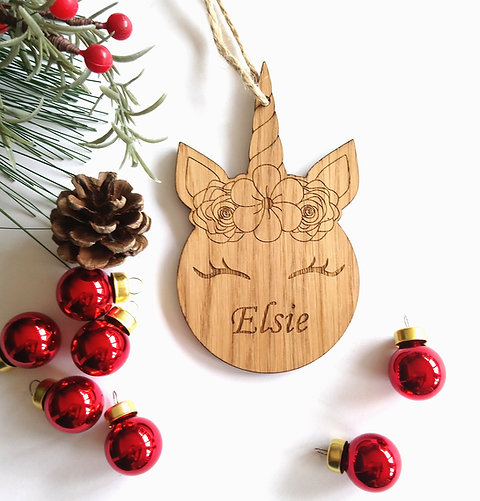 Christmas Tree Decorations Names.Unicorn Personalised Oak Engraved Christmas Tree Decoration