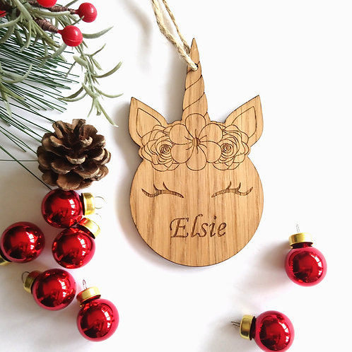 Unicorn Personalised Oak Engraved Christmas Tree Decoration