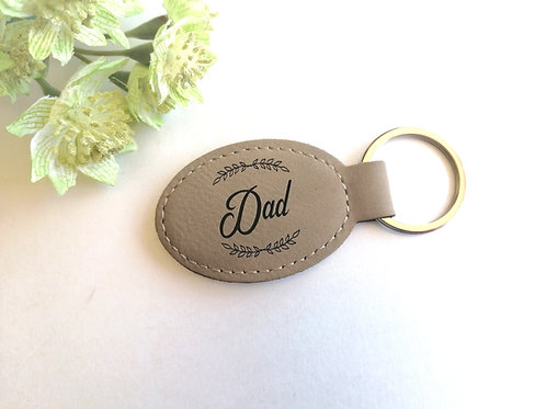 Personalised Key Ring - Vegan Leather- Fathers day gift - Faux leather Keyring