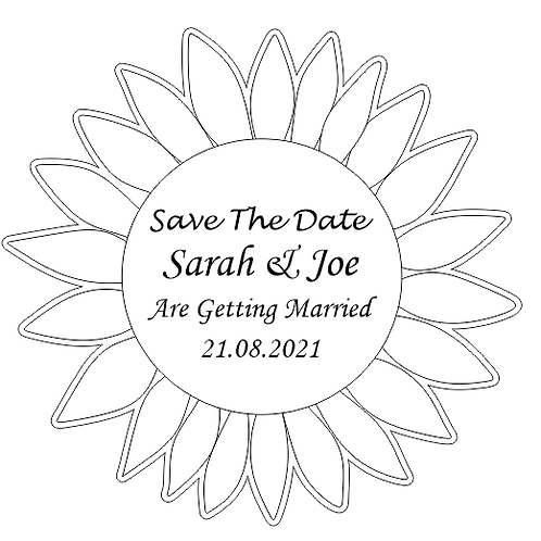 Sunflower Save The Date or Favour Wooden Magnets, Rustic Wedding, Summer Wedding