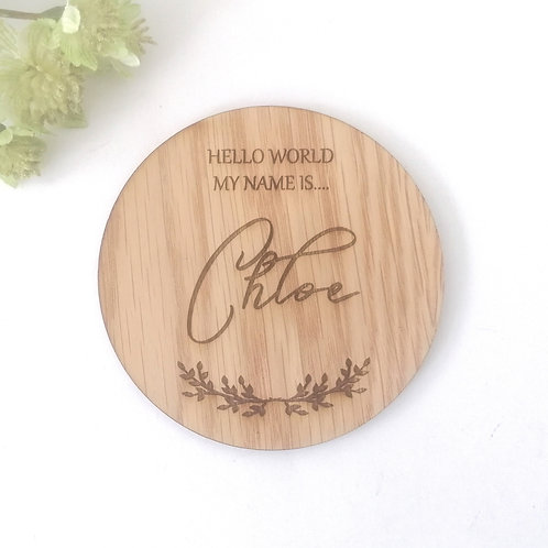 Hello World -Baby Announcement Plaque -Personalisation Option