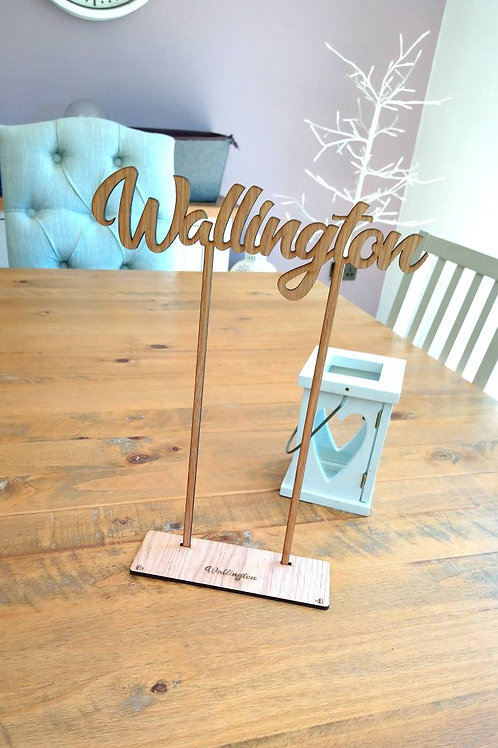 Wedding Table number/Names in Oak - Personalised table names with/without stands