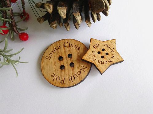 Elf's lost button - Oak button - Santa's Lost button