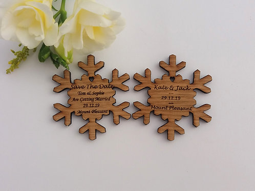 Snowflake Save The Date Wooden Magnets - Rustic Wedding Favour
