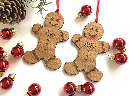 Personalsied Gingerbread Man -Oak Christmas Tree Hanging - Christmas Decoration