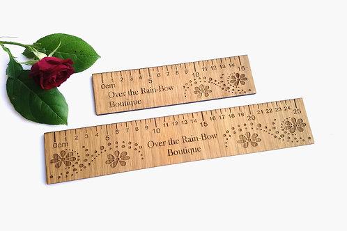 Personalised LOGO Ruler -  Oak Rulers 15cm or 30cm