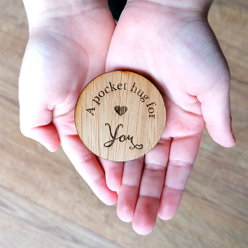A pocket hug for..... Wooden hug token gift, special gift, missing you, a little