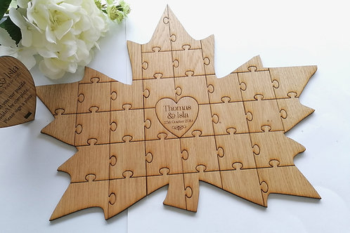 Autumn Wedding Guest Book Puzzle Pieces Leaf shape, Oak Maple Leaf Jigsaw Guest