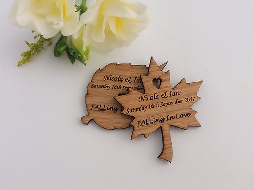 Save The Date Wooden Leaf Magnets - Rustic Wedding- Autumnal Wedding