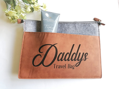 Faux Leather Travel Bag - Personalised Fathers day gift - Vegan leather
