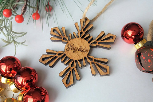 Personalsied Snowflake Tree Decoration -Oak Christmas Tree Hanging