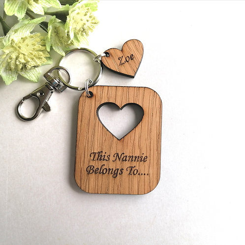 This Nannie Belongs to.. Key Ring - Personalised - Hearts