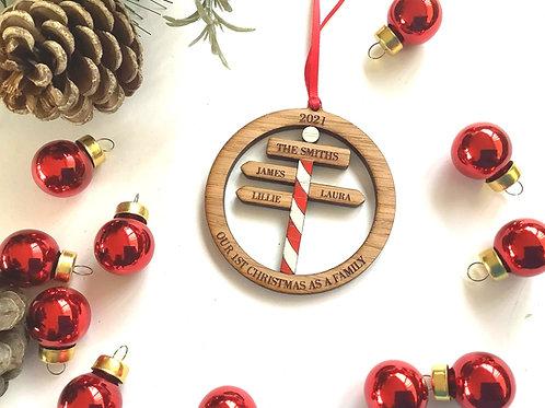 Personalised Tree Decoration, North Pole Tree Decoration, Street sign Christmas