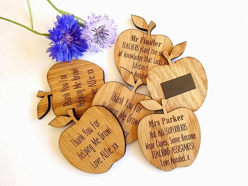 Personalised Teacher Magnets - Apple Magnets - teacher Gift - Oak Gift - Wooden