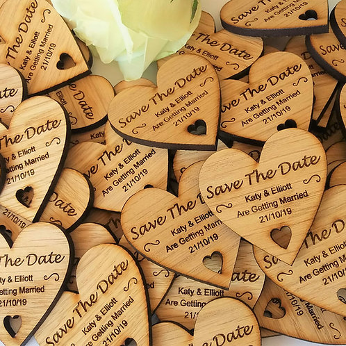 Save The Date Wooden Heart Magnets - Rustic Wedding Favours- Wedding Magnets