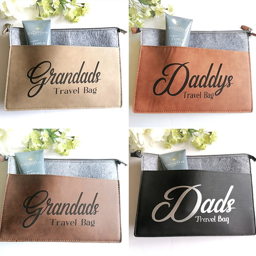 Personalised Travel Bag - Faux Leather Fathers day gift - Vegan leather
