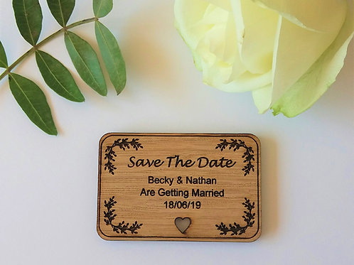 Save The Date Wooden Rectangular Magnets - Rustic Wedding
