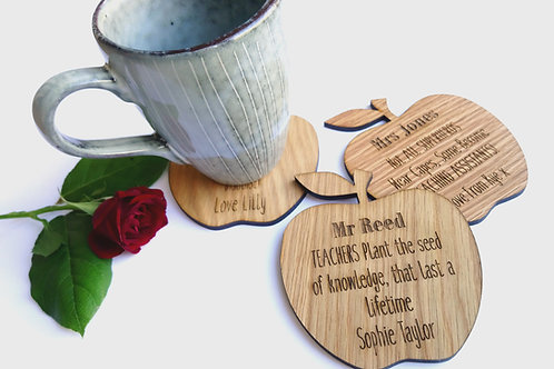Teachers Coasters - Personalised Apple Coaster - Oak Coaster