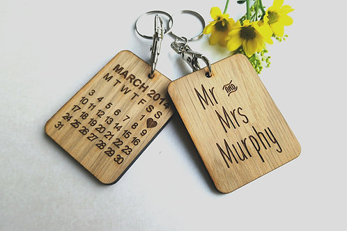 Mr and Mrs Personalised Keyring - Wedding Day Keyring