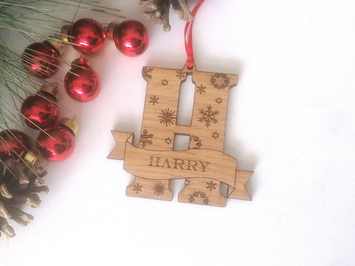Personalised Letter Tree Decoration - Snowflake Design Oak Bauble Decoration
