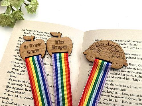 Bookmark - Personalised Teacher Gift -Oak Veneer and Rainbow Ribbon - Children