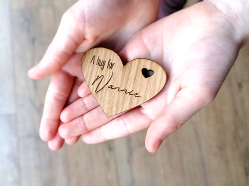 A little hug for when I can't be there, Heart Wooden hug token gift, special gif