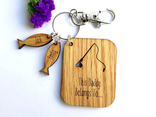 Personalised Fishing Key Ring - This Daddy Belongs to... - Fathers Day Gift