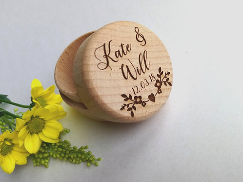 Ring Box - Wooden Wedding Ring Box - Personalised Ring Box