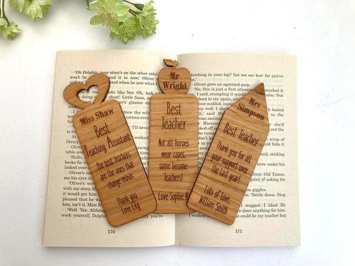 Teacher Gift Bookmark -Oak Veneer - Personalised Bookmark