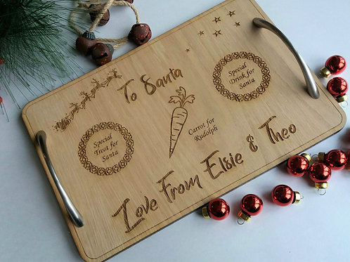 Personalised Christmas eve board - Laser engraved santa tray for treat and drink