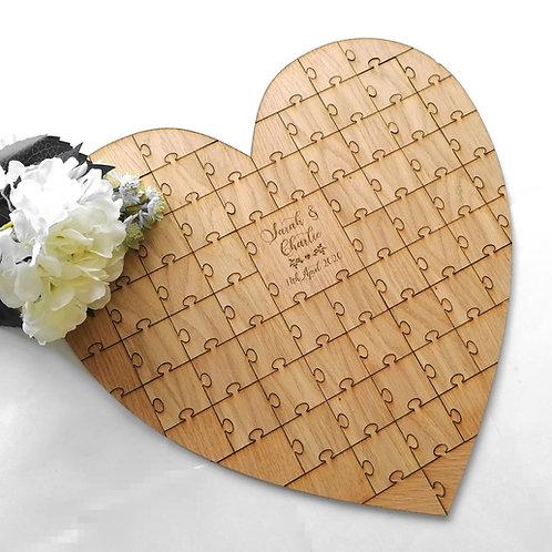 Alternative Wedding Guest Book Puzzle Pieces, Oak Veneer Heart Jigsaw Guest Book