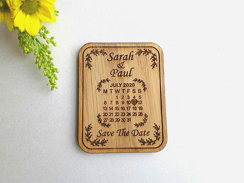 Save The Date Calendar View Wooden Magnets - Rustic Wedding