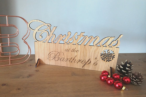 Christmas at the Surname - Personalised Large Oak Plaque - Standing or Wall hung