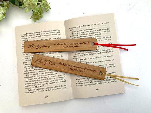 Personalised Bookmark -Oak Veneer - Teacher Gift - Children's Bookmark