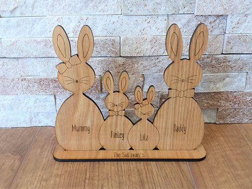 Personalised Bunny Family - Family of Rabbits Oak Veneer home decor