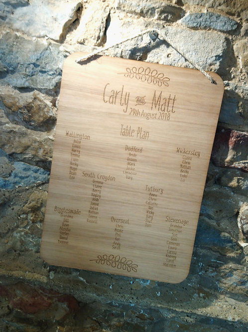 Wooden Wedding Table Plan and Menus - Laser engraved Oak veneered Wood